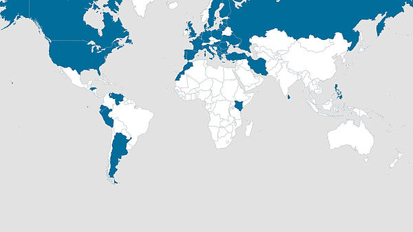 Shows a world map with the countries highlighted were FRS' employees are coming from..