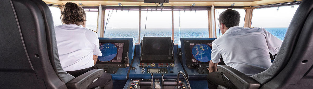 View from the back of the bridge on the instruments and at the sea.